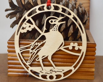 Wooden Robin ornament wood-cut American Robin decoration Intricately cut Robin Red Breast ornament