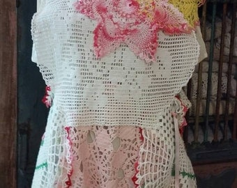 Upcycled doily tunic