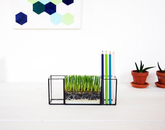 New pen holder glass terrarium desk organizer glass - Glass desk organizer ...