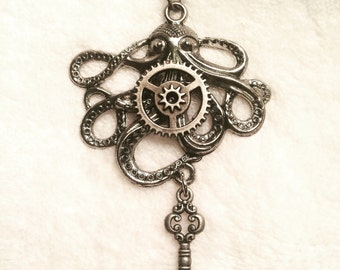 Silver Gear Octopus Key Charm Necklace