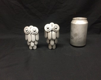 recycled metal small owl sculpture art
