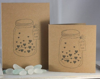 Hand stamped greeting card - a little jar of love