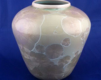 Crystalline glaze ceramic vase, signed, attributed to Stephen Roy