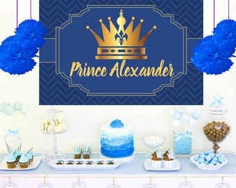 Birthday Prince Photo Personalized Backdrop - Birthday Cake Table Backdrop, 1st Birthday Prince backdrop, Vinyl Backdrop, Printed Backdrop