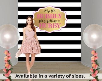 Bridal Shower Personalized Photo Backdrop -Black & White Stripes Photo Backdrop- Engagement Photo Backdrop, Wedding Personalized Backdrop