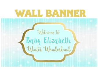 Winter Wonderland Theme Photo Banner ~ Personalized Party Banners Birthday Party Banner, Baby Shower Personalized Banner