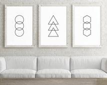 Set of 3 Large Printable Art, 24x36 Posters, Circle, Triangle, Hexagon, Set of 3 Wall Art Prints, Geometric Minimalist Black and White Art