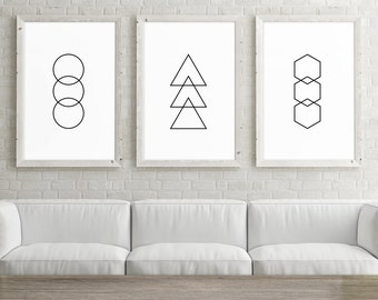 Set of 3 Large Printable Art, 24x36 Posters, Circle, Triangle, Hexagon, Set of 3 Wall Art Prints, Geometric Minimalist Black and White Art