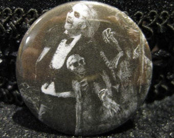 Beetlejuice, Button, Pin, Pinback, Accessory, black, white, movie, tim, burton, ghost, betelguise, 1.5 inch