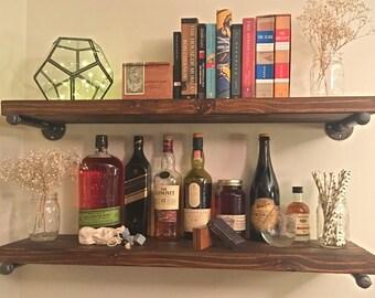 Custom rustic wood shelf, industrial shelf, shelf bracket, wood shelving, bathroom shelves, wall shelf, iron pipe shelves, burned wood