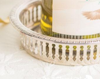 Elegant vintage silver plated wine bottle coaster