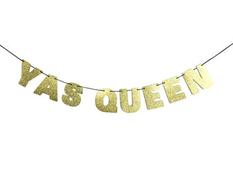 YAS QUEEN Glitter Banner Sign Wall Decor - Sparkly Gold - Party Decoration - More colors available
