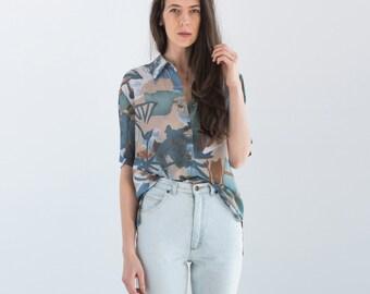 Vintage Abstract Print Short Sleeve Shirt Size Medium Large / Loose Fit Boho Festival Kimono Style Top Blouse / 841
