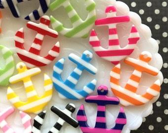 Anchor pendants, Nautical Stripe Anchor Cabochons - 6 pieces - Decoden Pendants