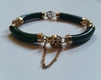 Vintage Jade Gold Asian Chinese Bracelet