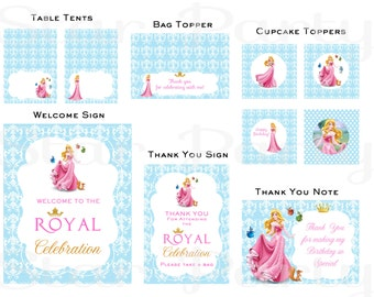 Sleeping Beauty, Aurora,  Party Pack, Disney Princess, cupcake toppers, table tents, thank you note, bag toppers,signs, Kid's Birthday Party