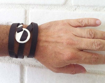 Free Shipping -  Men's Leather Wrap Bracelet, Brown Leather Bracelet, mens leather, Mens Jewelry, Men's Gift, Gifts For Men, Gift for Dad