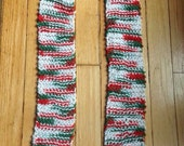 Hand knit holiday scarf, red white and green scarf, christmas scarf, knit scarf, ugly christmas sweater scarf