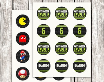 Video Game Party Cupcake Toppers - Gamer Party Circles - Video Game Birthday Party - Gamer Loot Bag Favors - DIY Printable