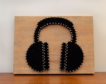 Headphones String Art, Music Art, Wood Decor