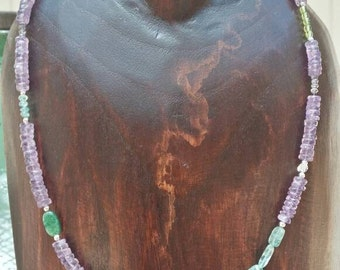 Beautiful, multiple, semi precious stone with sterling necklace