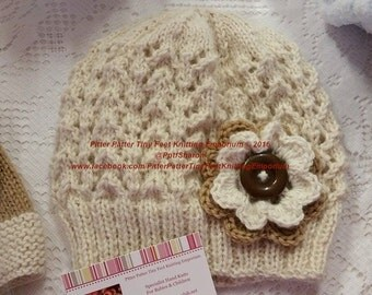 100% Alpaca Hand knitted Girls Hat with Flower Motif 2 - 4 years