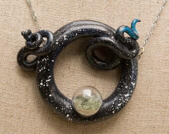 Star Dust tentacle pendant,  Moldavite dust