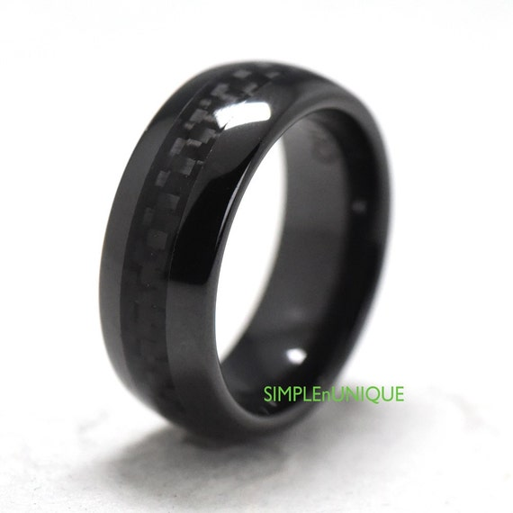 Mens engagement ring band black ceramic mens by simplenunique for Black ceramic wedding ring
