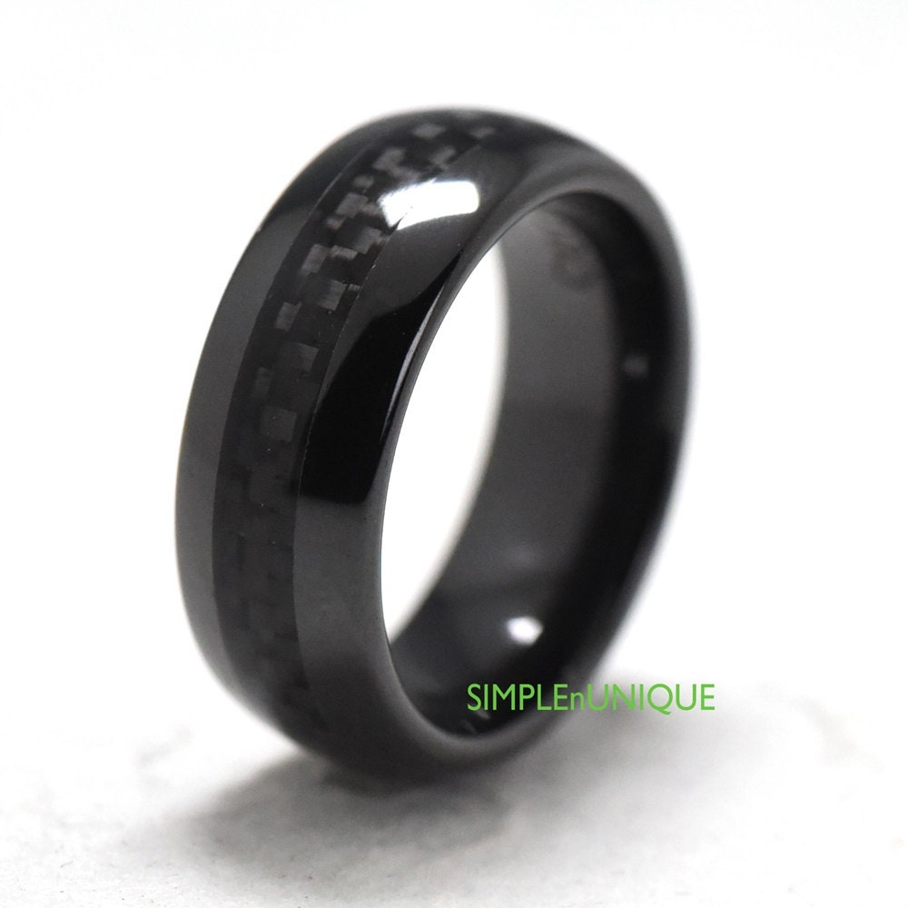Mens Engagement Ring Band Black Ceramic Mens by SIMPLEnUNIQUE
