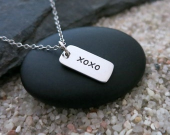 XOXO Hugs and Kisses Necklace, Sterling Silver XOXO Charm, Love Jewelry