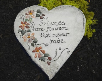 "Engraved Stepping Stone, Garden Decor, All-Natural Mosaic Stepping Stone, Garden Gift, Garden Sign: ""Friends are flowers that never fade"""