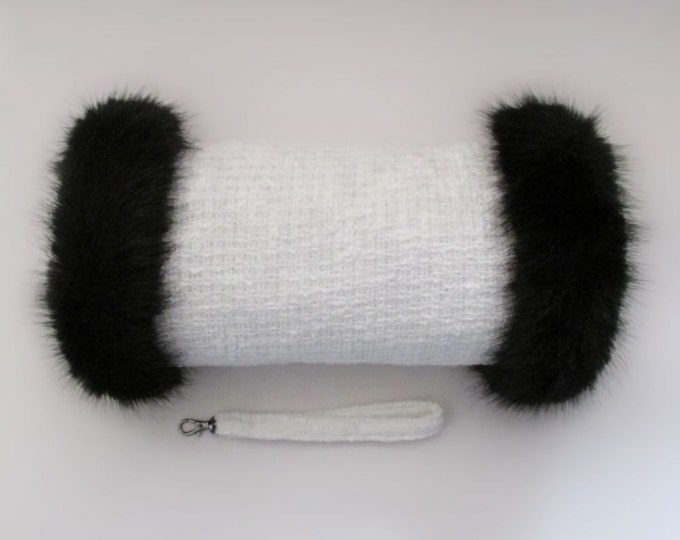 Linton Tweed Ivory Hand Muff with Black Faux Fur Trim
