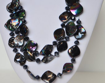 """Three Strand Multi Black Mother Of Pearl Shell Bead Necklace 21"""""""