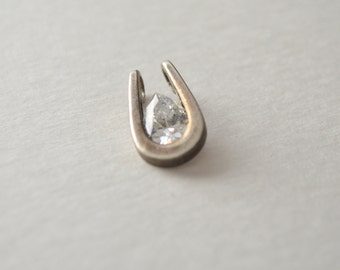 Vintage Sterling Silver 925 Signed Big Faceted Cubic Zirconia CZ Stone Charm Pendant