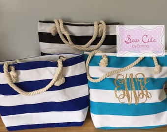 Striped handbag beach bag purse anchor nautical