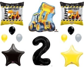 2nd BIRTHDAY CONSTRUCTION Balloons Decoration Supplies Party Boy Dump Truck Bulldozer Second