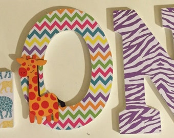 safari wall letters, baby nursery letters, jungle wood letters, name letters London, decorative letters for girls, custom letters baby room