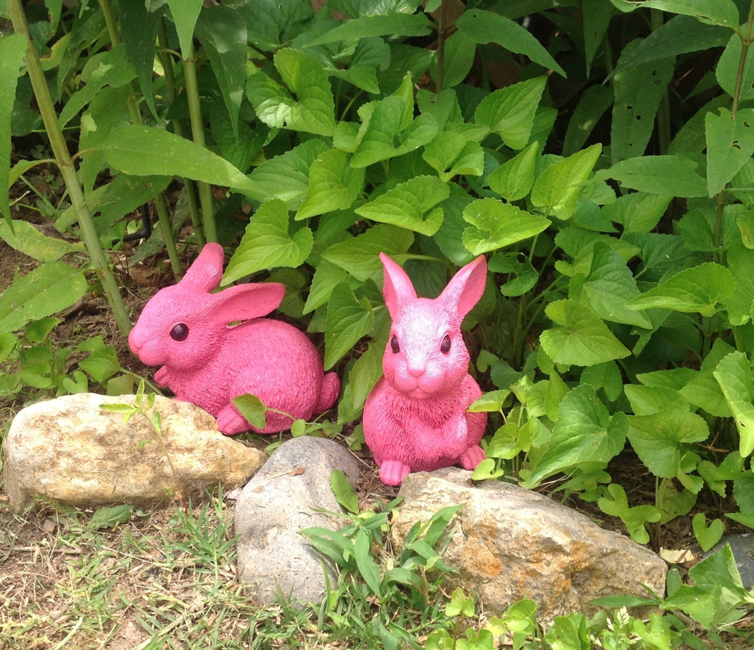 Garden bunnies set of 2 whimsy pink rabbit statues outdoor for Whimsical garden statues