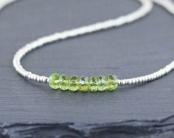 Peridot & Miyuki Seed Bead Necklace. Delicate Layering Necklace. Beaded Choker. Green Gemstone Jewellery In Sterling Silver or Gold Filled