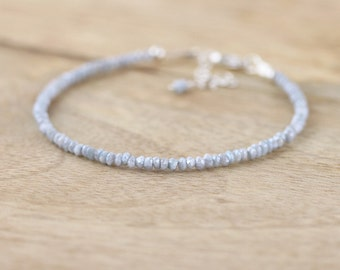 Blue Veined Silverite Beaded Bracelet in Sterling Silver or Gold Filled. Dainty Gemstone Bracelet. Delicate Stacking Bracelet. Jewelry. b-8