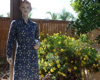 1960's Original Mod Blue Dress  ~ Brass Buttons Down Front Of Dress, Large Pointed Collar, Soft Material, Long Sleeves, Size 12 ~ Unusual