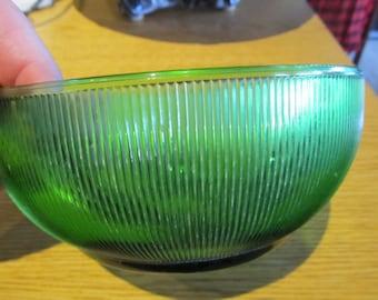 Vintage Green Ribbed Glass Serving Bowl
