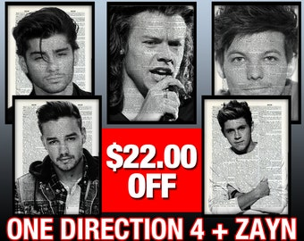 Buy All 4 One Direction Prints + Zayn Malik - get 22 Dollars Off - Art Prints Posters Gift Ideas Sale Her Girlfriend Women Love Valentines