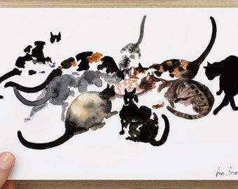 "Oversized postcard (8.52"" x 5.47"") with my cat art Postcards"