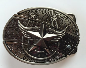 Horseshoe and Star Belt Buckle with built in knife