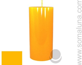 3 x 6.5 Amber Classic Hand-poured Unscented Pillar Candles Solid Color