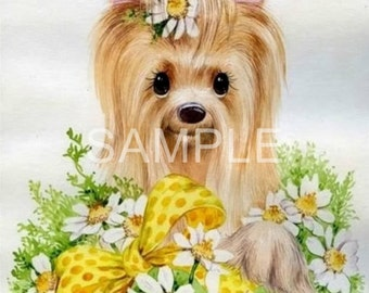 Fabric Art Quilt Block *Cutest Little Yorkie*  12-1617  FREE SHIPPING