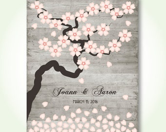 wedding guest book alternative digital bridal shower sign in book floral cherry blossom wishing tree signature poster printable jpeg pdf