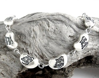 Vintage Heavy Chunky Wide Boho Chic 90s Jelly Belly Bean Candy Sterling Silver Charm Link Bracelet