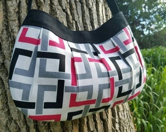 Canvas fabric purse - Buttercup Bag -  black, white, and pink geometric design canvas